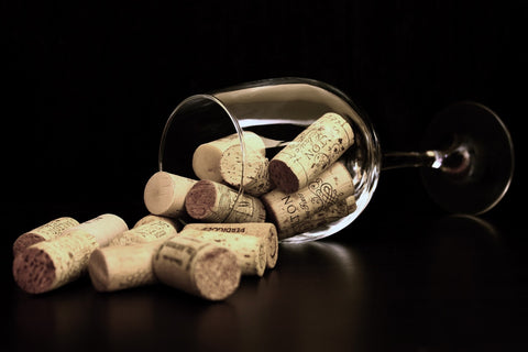 Wine corks and glass