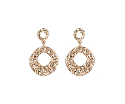 Textured gold hoop drop earrings