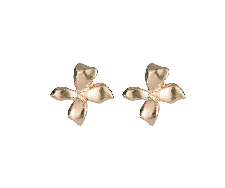 Gold stud cross effect earrings