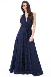 REBECCA MAXI LACE DRESS NAVY