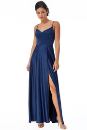 ASTRID SATIN MAXI DRESS NAVY