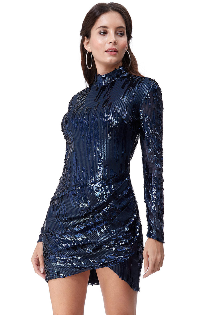 SUPERNOVA MINI 3D SEQUIN DRESS NAVY
