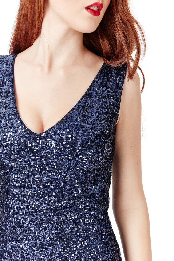 MEGAN MAXI SEQUIN DRESS NAVY