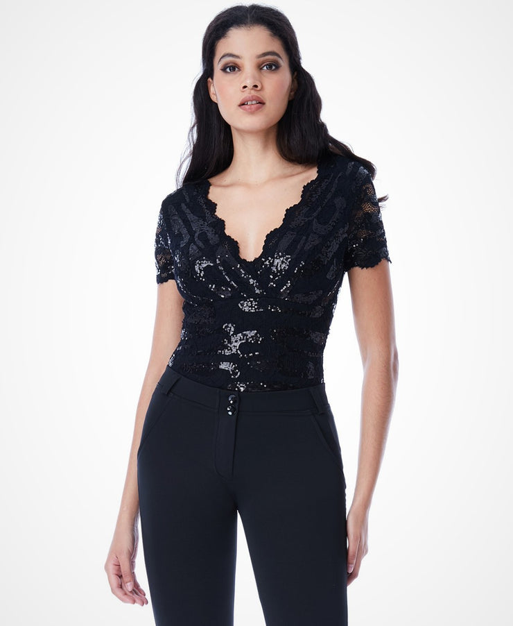 SEQUINED LACE BODYSUIT