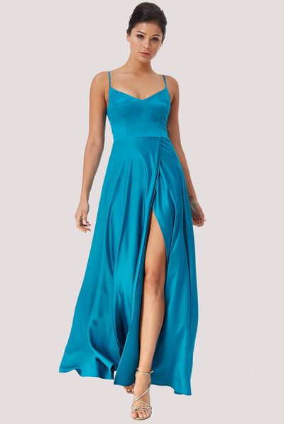 ASTRID SATIN CIEL MAXI DRESS