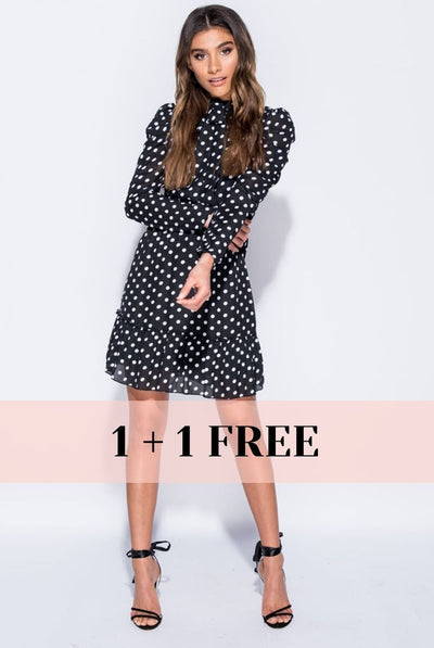 BLACK DOTTY DRESS
