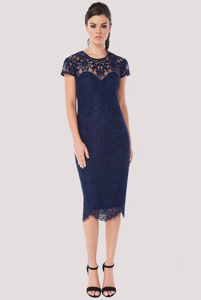 BRIDGET MIDI LACE DRESS NAVY