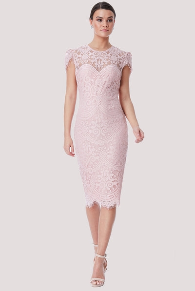 BRIDGET MIDI LACE DRESS PINK