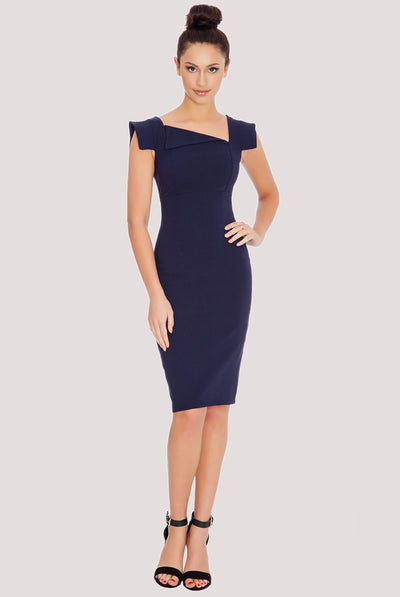 CREASE MIDI DRESS NAVY