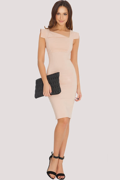 CREASE MIDI DRESS NUDE