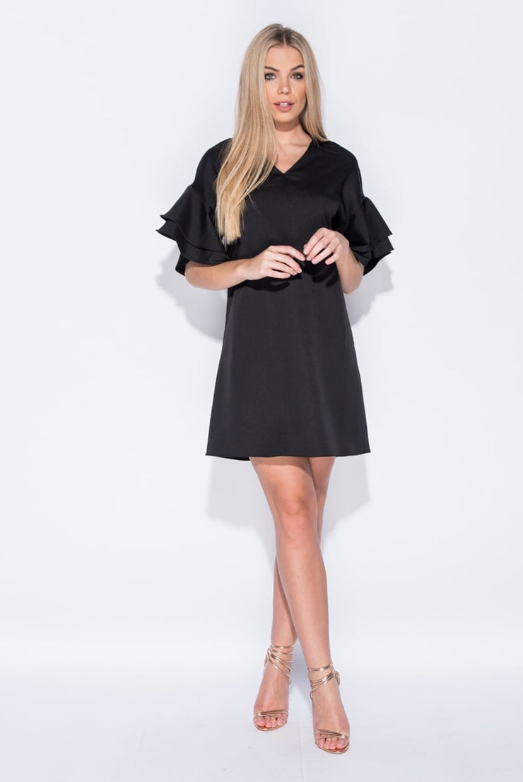 DARK FRILL MINI DRESS