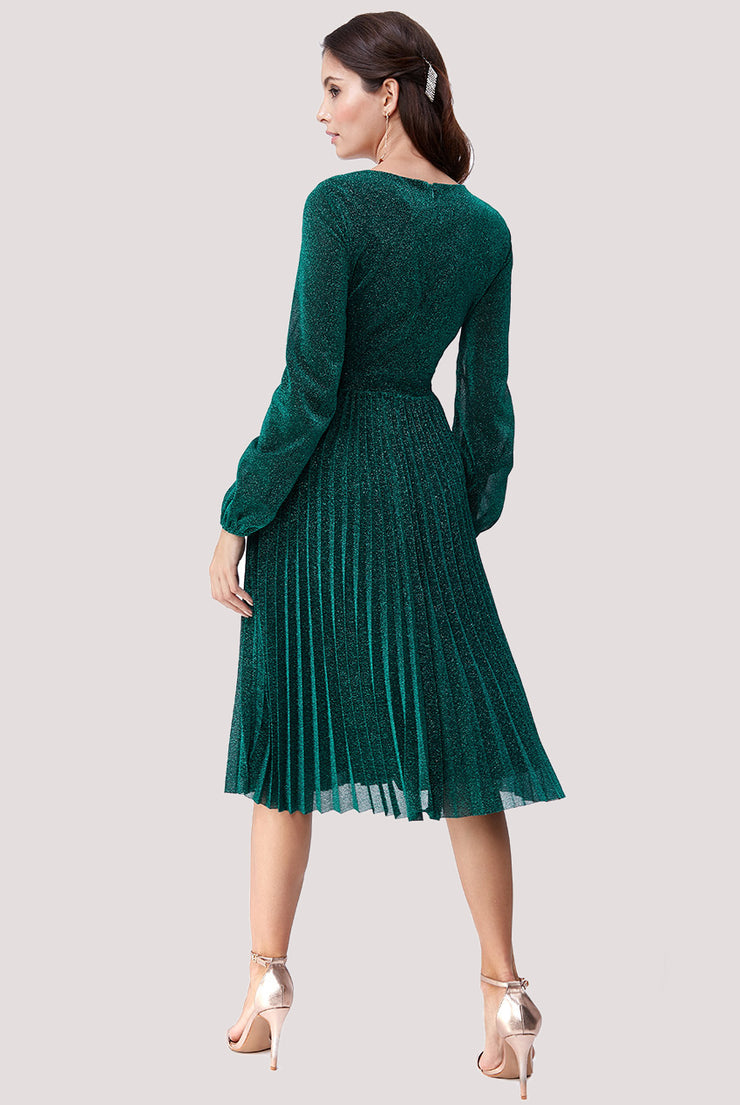 DESTINY MIDI GLITTER DRESS EMERALD