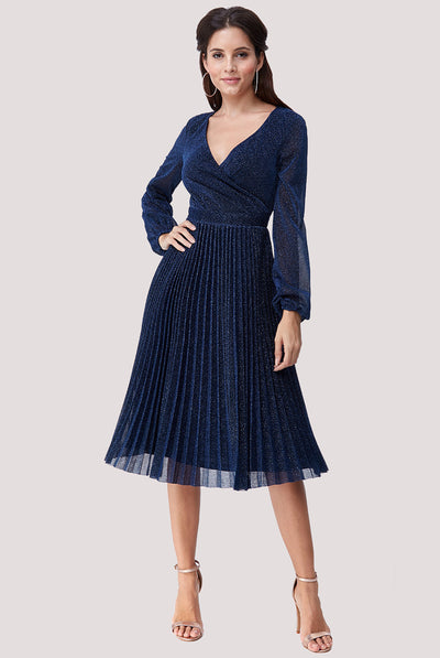 DESTINY MIDI GLITTER DRESS NAVY