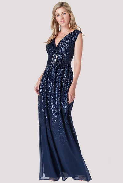 DUTCHESS SEQUIN MAXI NAVY