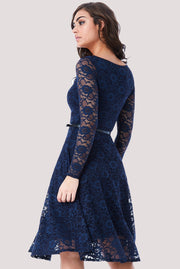 MAGGIE LACE MIDI DRESS NAVY