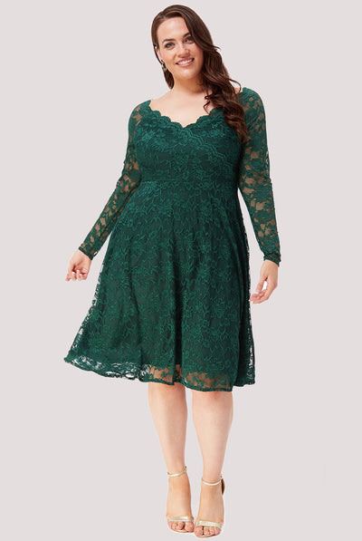 MAGNOLIA LACE MIDI DRESS EMERALD PLUS
