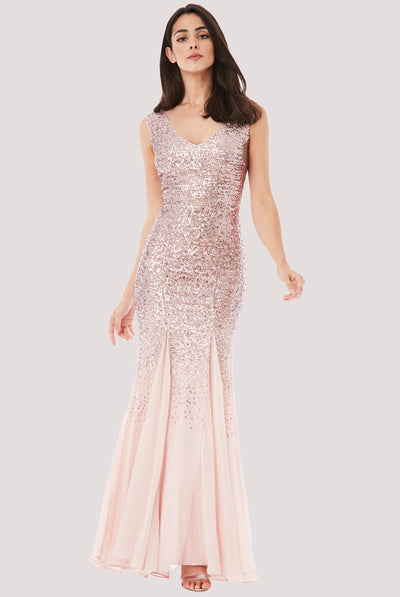 MEGAN MAXI SEQUIN DRESS ROSE