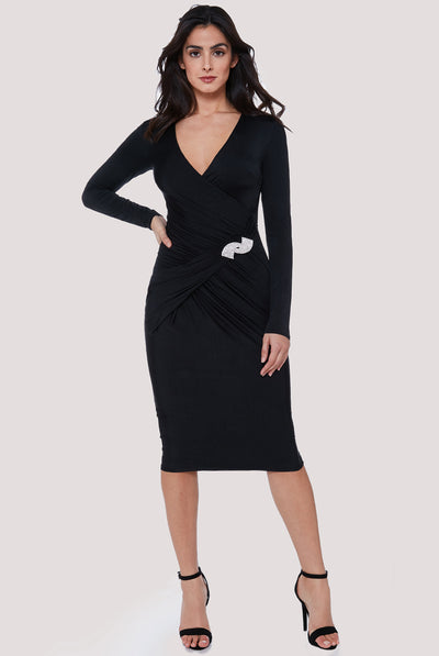 MIRANDA MIDI DRESS BLACK