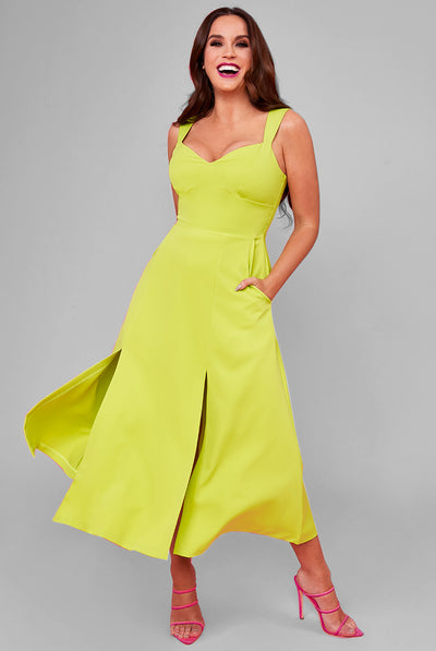 MONICA MIDI / MAXI DRESS LIME