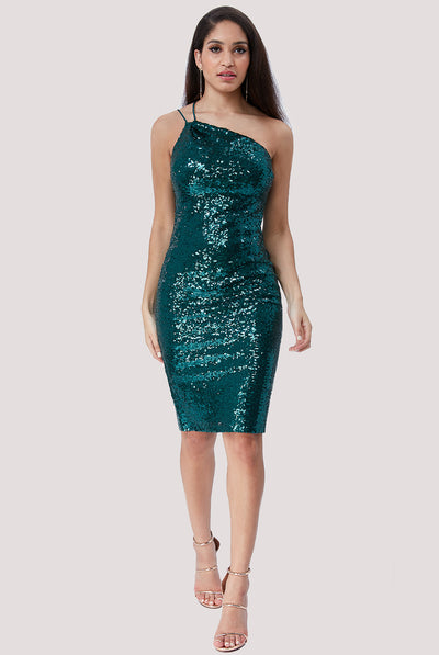 NEBULA MIDI SEQUIN DRESS EMERALD