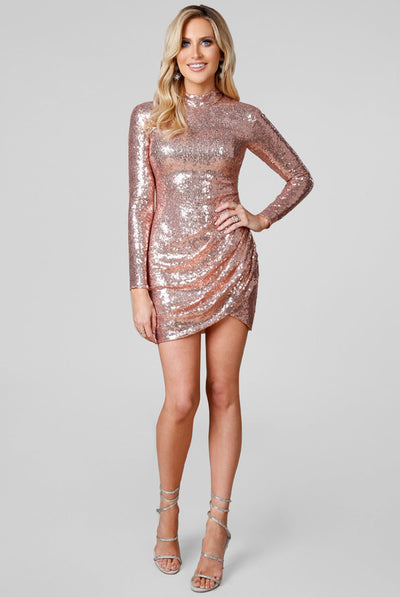 SUPERNOVA MINI SEQUIN DRESS CHAMPAGNE