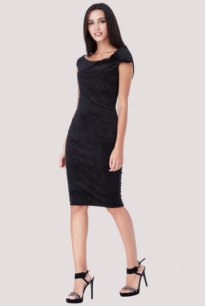 PEARL MIDI VELVET DRESS BLACK