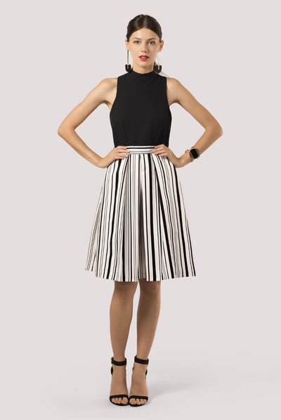 PIANO BLACK/WHITE MIDI DRESS