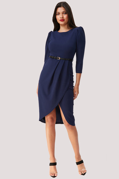 SAMANTHA MIDI DRESS NAVY