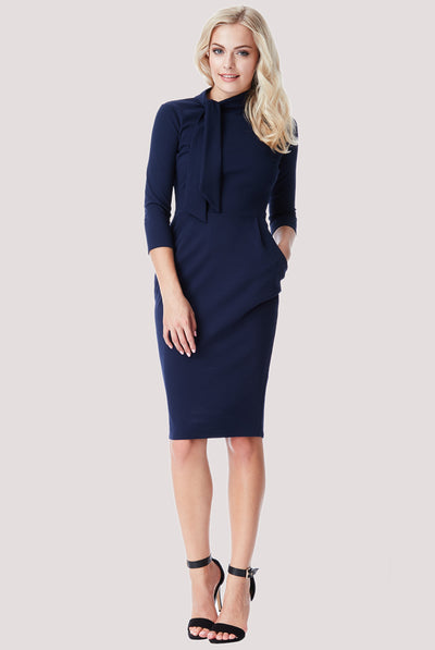 TIE KNOT DRESS NAVY