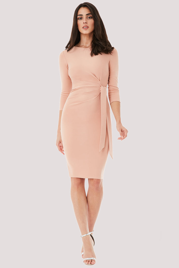 WAIST TIE NUDE DRESS