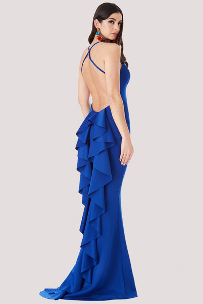 WATERFALL FRILL ROYAL BLUE