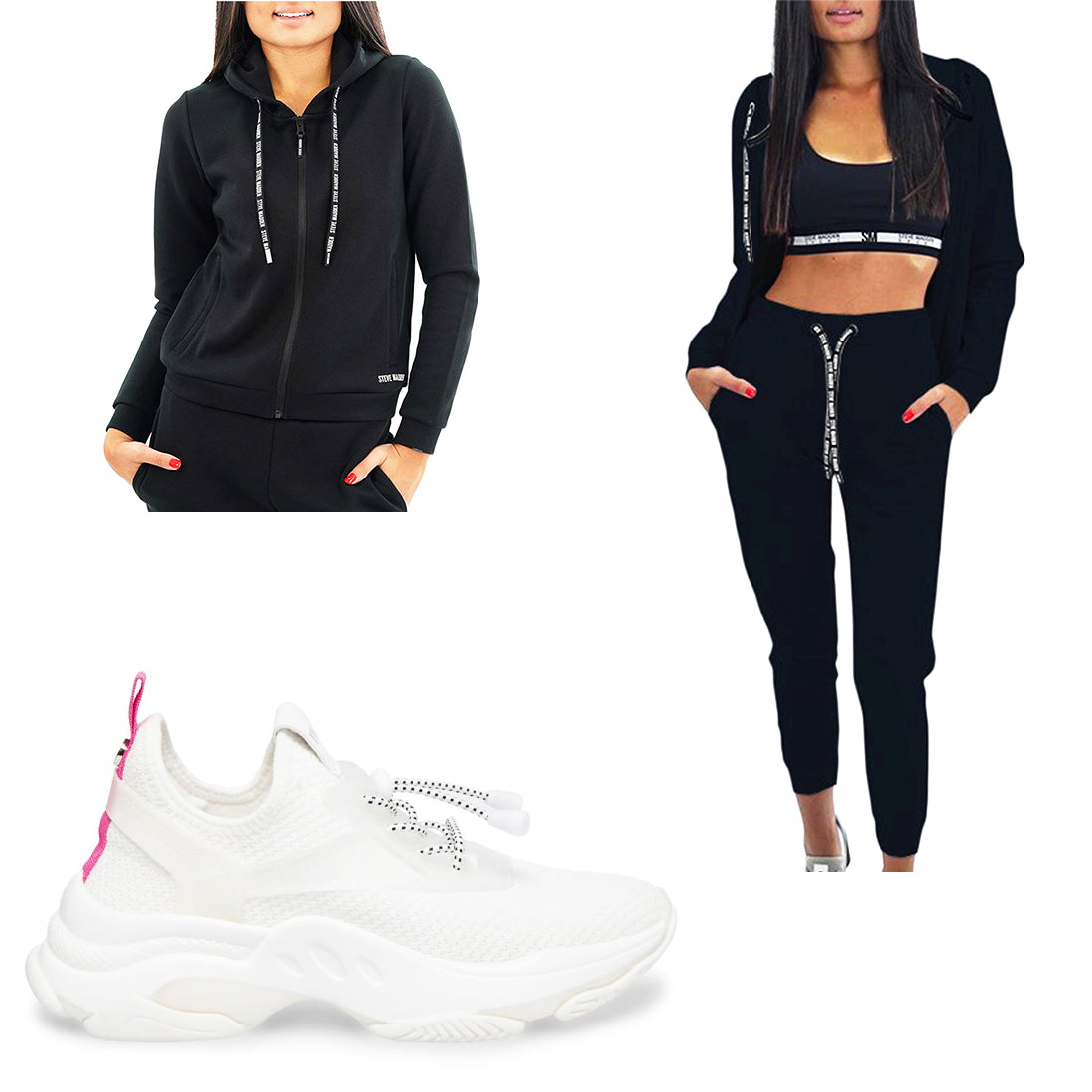 ACTIVE JOGGERS BLACK + ZIP-UP ACTIVE SWEATSHIRT BLACK + MYLES WHITE