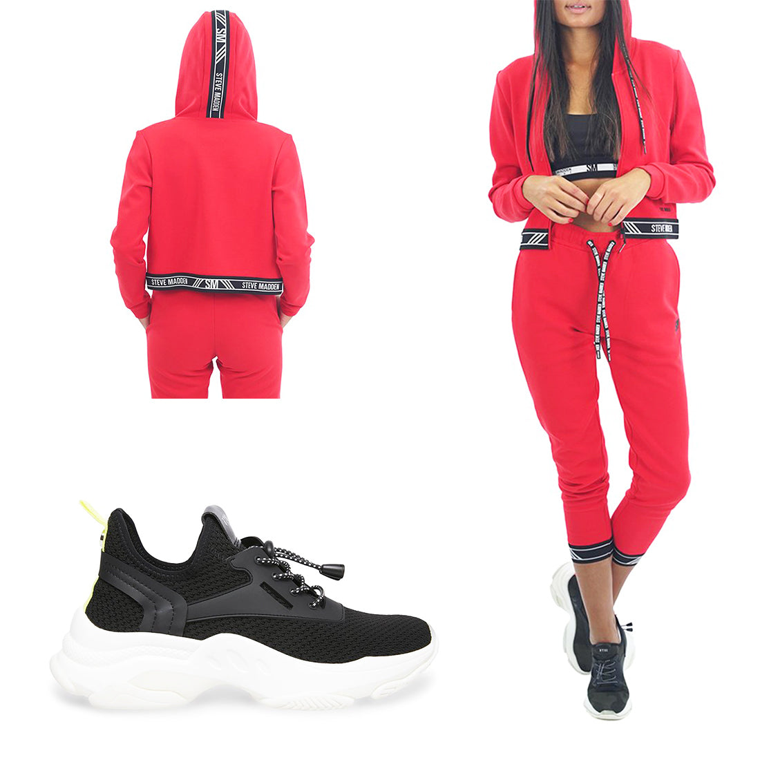 ZIP-UP LOGO SWEATSHIRT RED + ACTIVE LOGO JOGGERS RED + MYLES BLACK