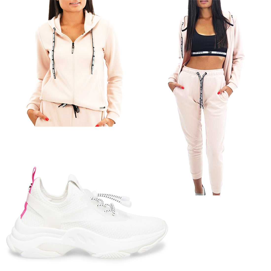 ACTIVE JOGGERS PINK + ZIP-UP ACTIVE SWEATSHIRT PINK + MYLES WHITE
