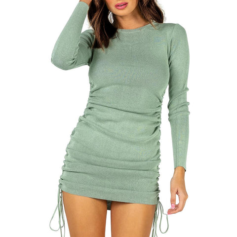 LONG SLEEVE MINI DRESS LIGHT GREEN