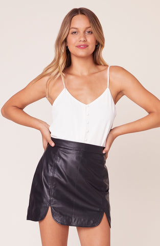 Slit and Run Leather Skirt