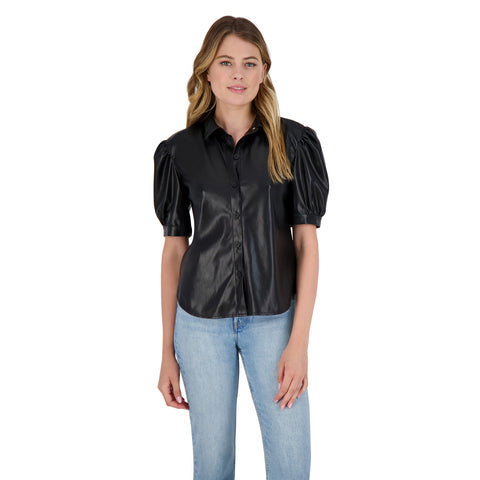 The More You Faux Vegan Leather Puff Sleeve Shirt