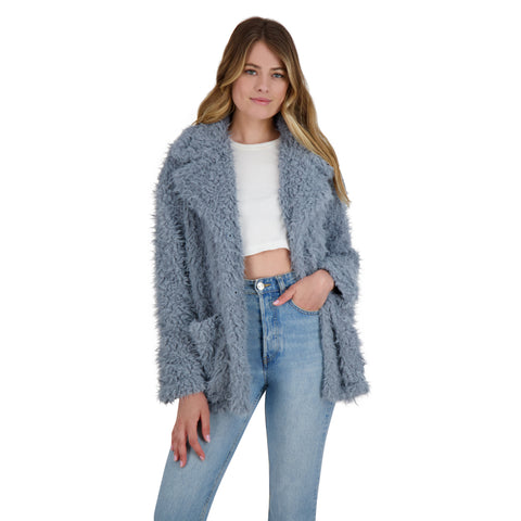 WARMING SIGNS FAUX FUR COAT DUSTY BLUE