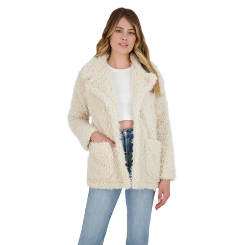 WARMING SIGNS FAUX FUR COAT TAN