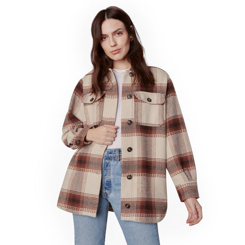 LUCKY LUMBER OVERSIZED PLAID COAT TAN