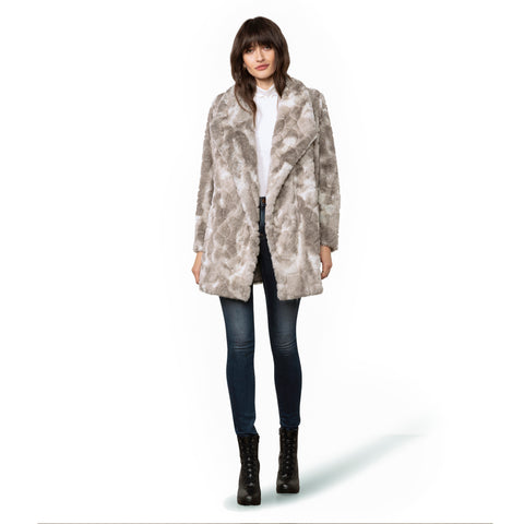SWIRLS GONE WILD FUR COAT GREY