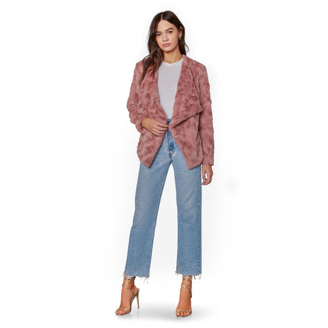 COME COZY FAUX FUR JACKET ROSE TAUPE
