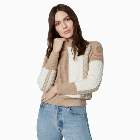 PATCH AND RELEASE SWEATER SOFT CAMEL