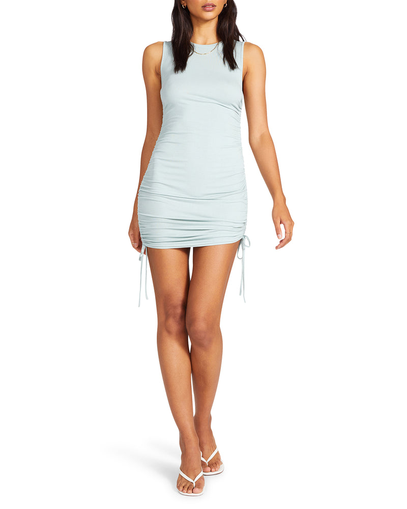 SLEEVELESS MINI DRESS GREY SAGE
