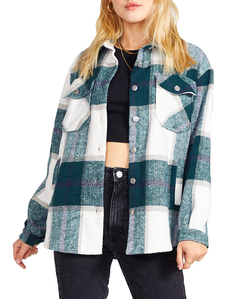 PLAID SHACKET GREEN