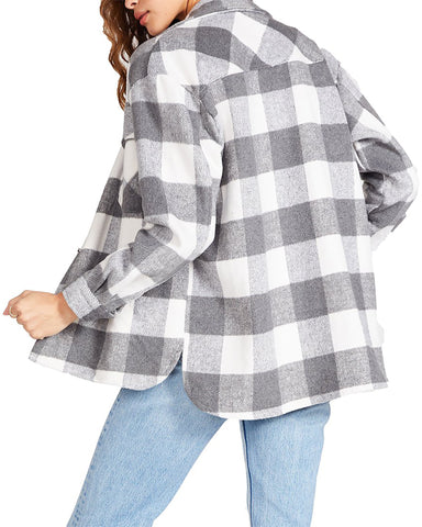 PLAID SHACKET GREY MULTI