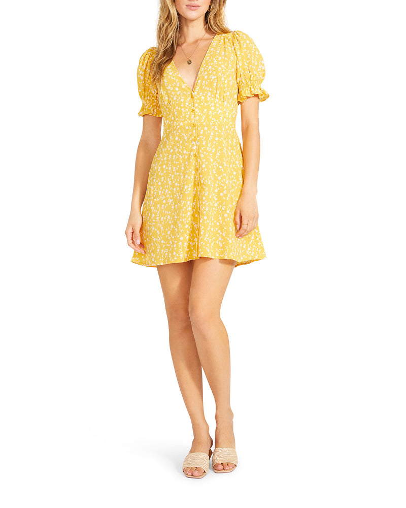 FLORAL TRADITION DRESS YELLOW