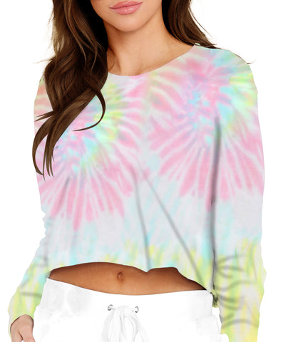 TIE-DYE CROPPED LONG SLEEVE MULTI