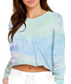 TIE-DYE CROPPED LONG SLEEVE PURPLE MULTI