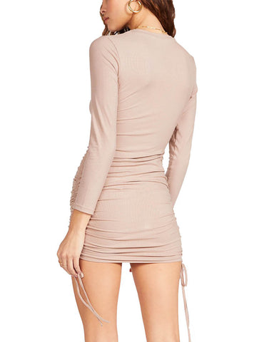 LONG SLEEVE MINI DRESS CAMEL